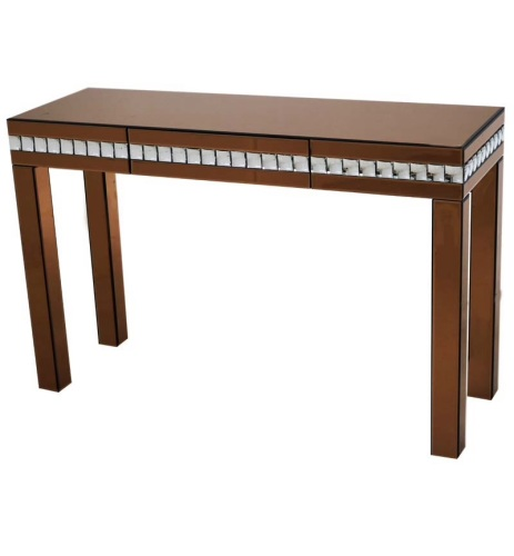 Crystal Border Bronze Mirrored Console Table