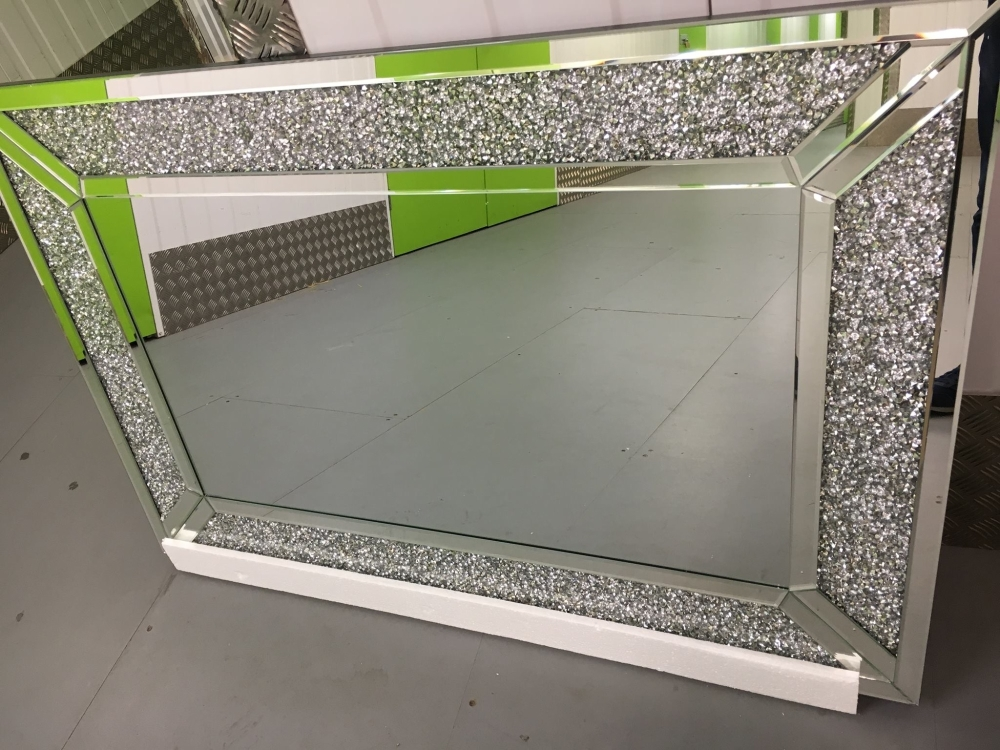 Diamond Crush Sparkle Alexa Wall Mirror 120cm X 80cm