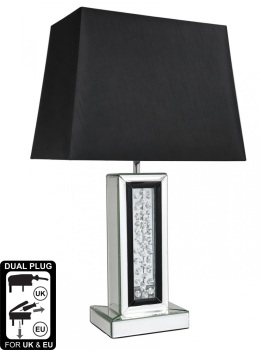 Floating Crystals column Mirrored Lamp in Black & Silver