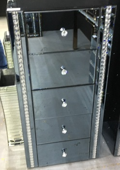 Crystal Border Smoked Grey Mirrored 5 Draw Tall Chest