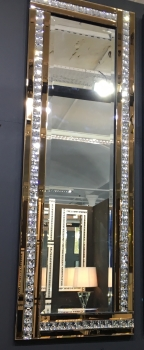 Frameless Bevelled Crystal Border Bronze Mirror 120cm x 40cm