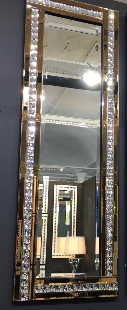 Frameless Bevelled Crystal Border Bronze Mirror 120cm x 40cm