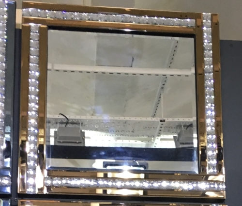 Frameless Bevelled Crystal Border Bronze Mirror 60cm x 60cm