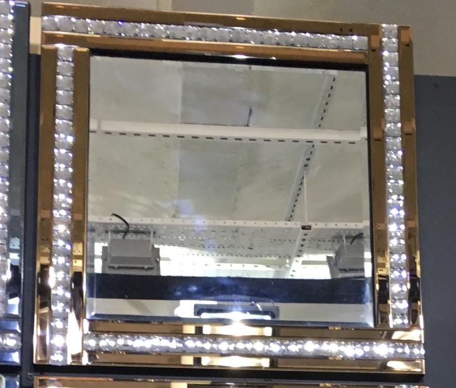 Frameless Bevelled Crystal Border Bronze Mirror 60cm x 60cm