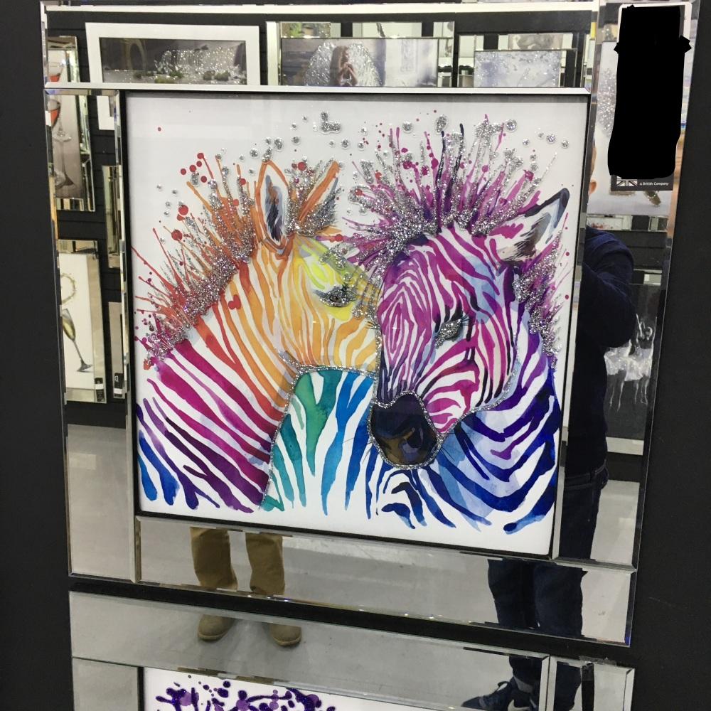 Mirror framed art print Colourful Zebras 60cm x 60cm