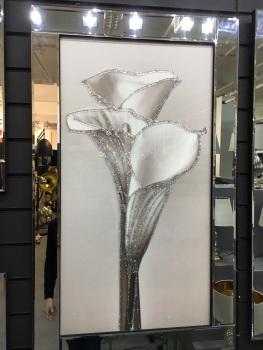 "Mirror framed art ""3 Lilly"" 100cm x 60cm"