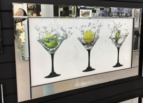Mirror framed art print Colourful Cocktails 100cm x 60cm