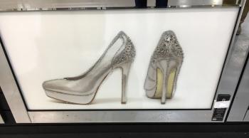 "Mirror framed art print ""Silver sparkle Shoes"" 100cm x 60cm"