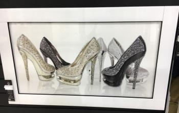 """White Mirror framed art print """"Silver Glitter Shoes"""""""