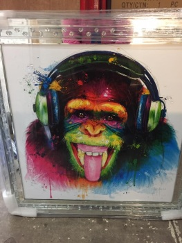 """Patrice Murciano Framed monkey"""" print in floating crystal mirrored frame"""