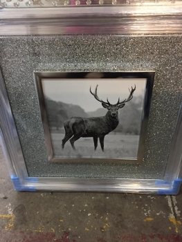 "Mirror framed Silver Glitter ""Stag"" Wall Art  in silver  frame"