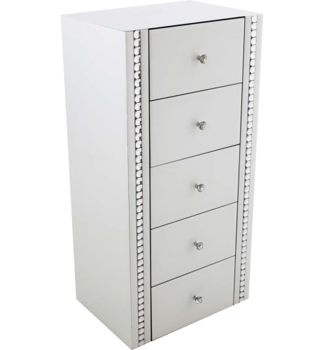 Crystal Border White Mirrored 5 draw Tall Chest