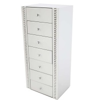 Crystal Border White Mirrored 7 draw Tall Chest