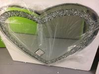 * New Diamond Crush Sparkle Heart Wall Mirror 90cm x 70cm item in stock