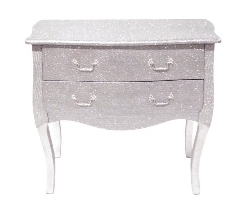 Glitter 3 draw Large chest of draws in silver