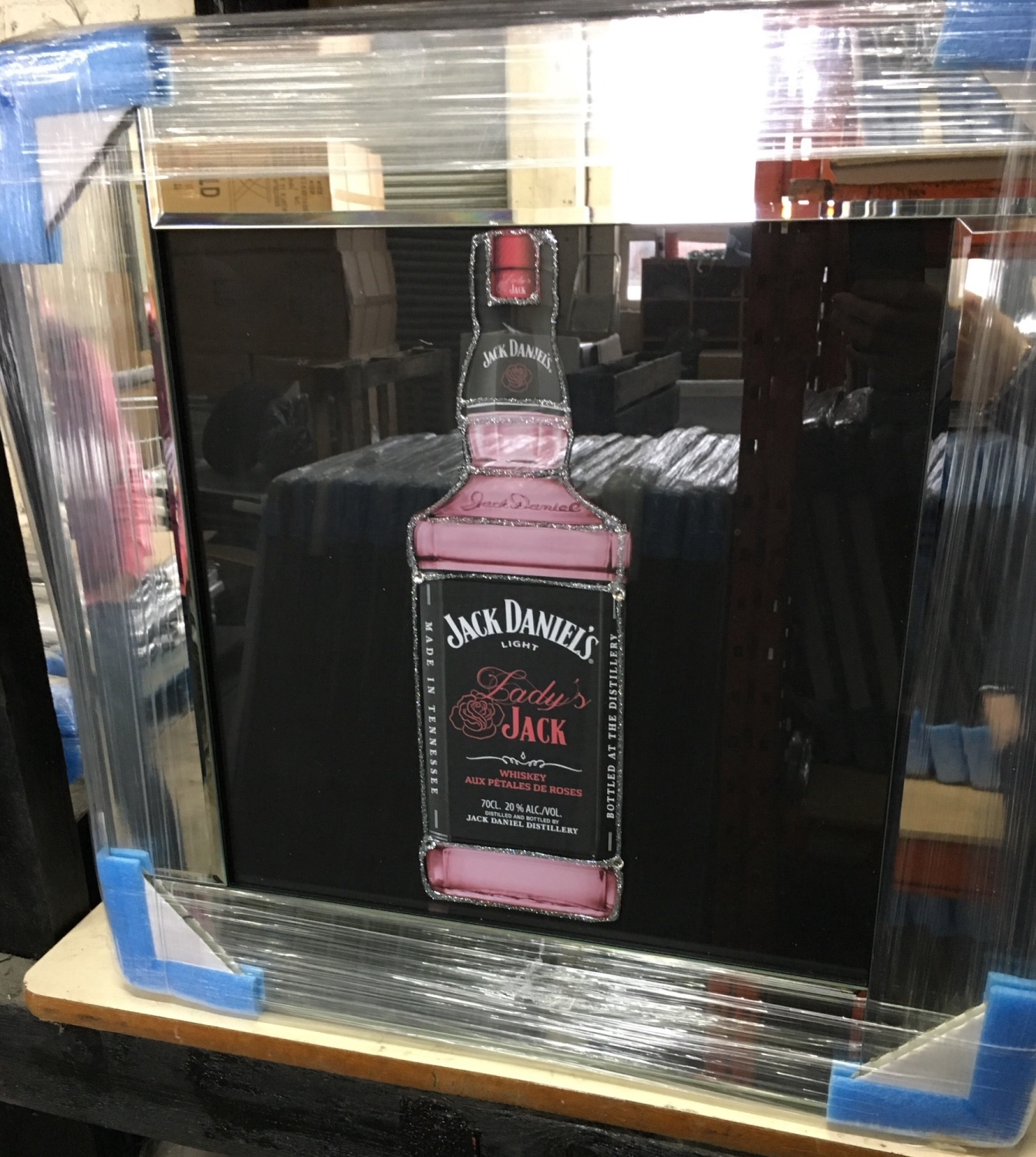 Jack Daniels Ladies Glitter Art Mirrored Frame 57cm