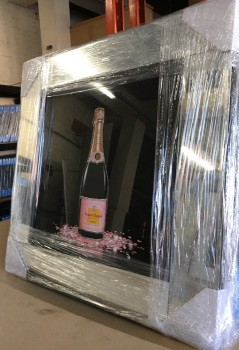 ** Verve Clicquot Glitter Art Mirrored Frame ** 57cm x 57cm - in stock
