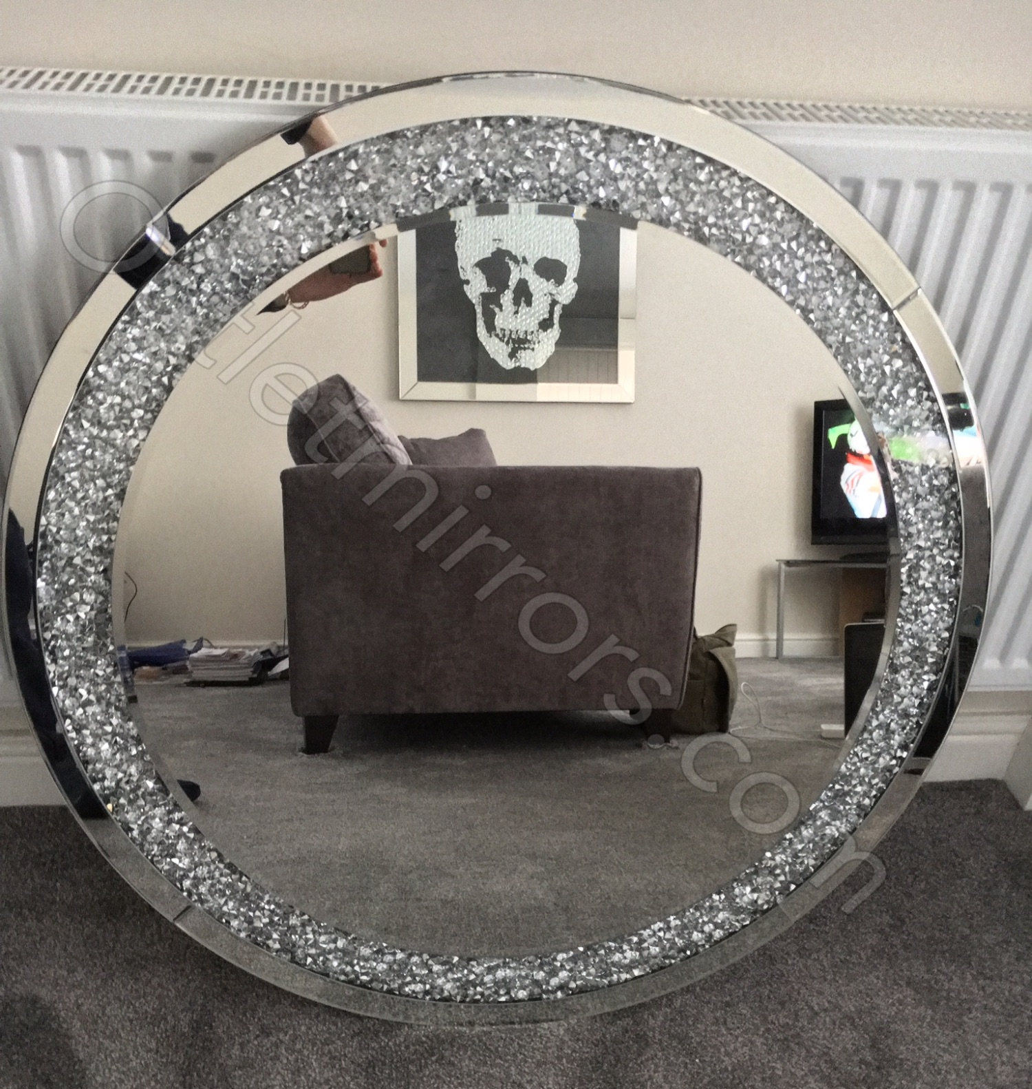 New Diamond Crush Sparkle Round Silver Wall Mirror 90cm Dia