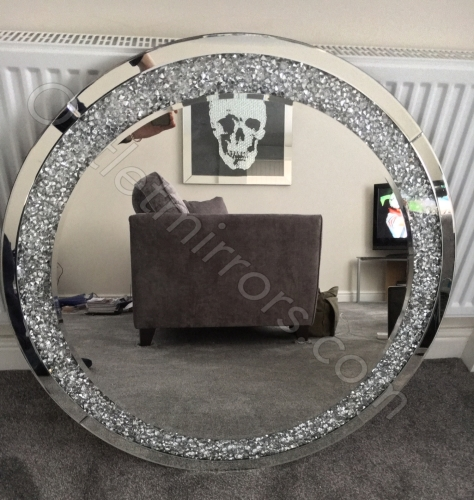 New Diamond Crush Sparkle Round Silver Wall Mirror 90cm Dia
