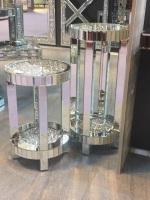 * Diamond Crush Sparkle Crystal round Mirrored Lamp Table Medium