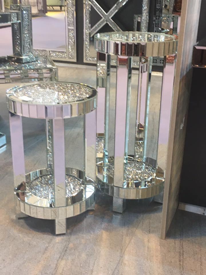 * Diamond Crush Sparkle Crystal round Mirrored Lamp Table ...