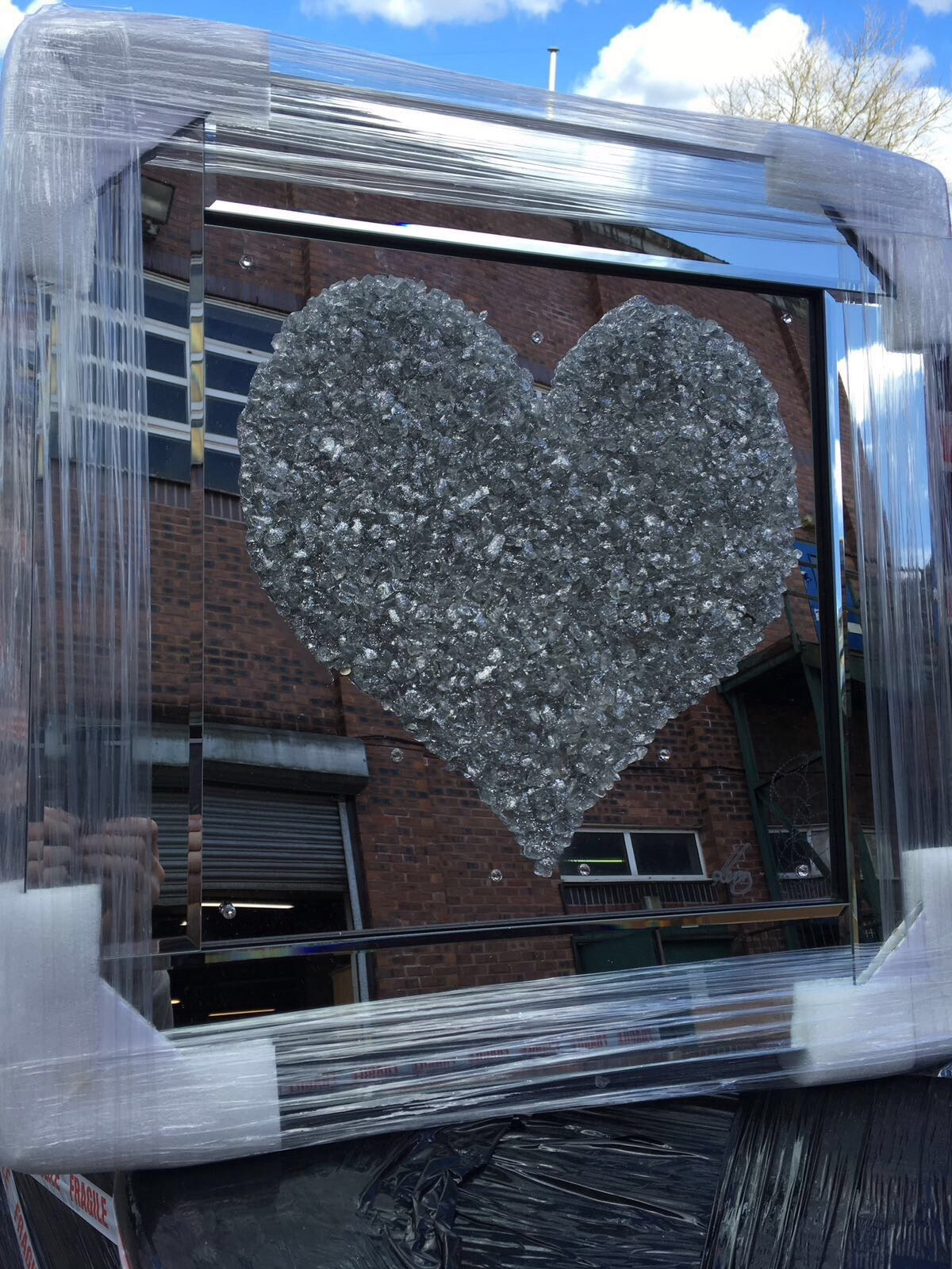Mirror Framed Sparkle Glitter Art Quot Silver Heart Cluster