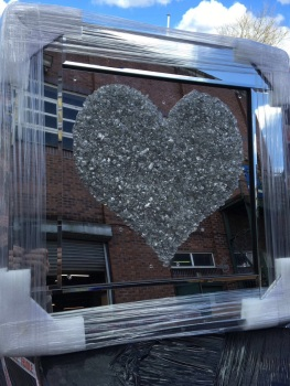 "Mirror framed Sparkle Glitter Art ""Silver Heart Cluster"" in stock for a fast delivery"