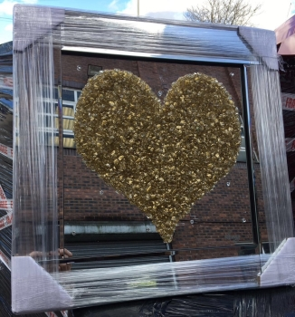 "Mirror framed Sparkle Glitter Art ""Gold Heart Cluster"""