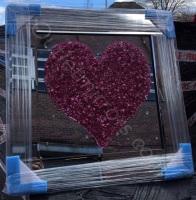 """""""Heart Cluster Pink"""" Mirror framed Sparkle Art"""