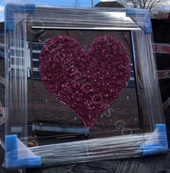 "Mirror framed Sparkle Glitter Art ""Pink Heart Cluster"""
