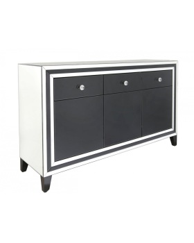 Black Mirrored Manhatten 3 Draw Sideboard