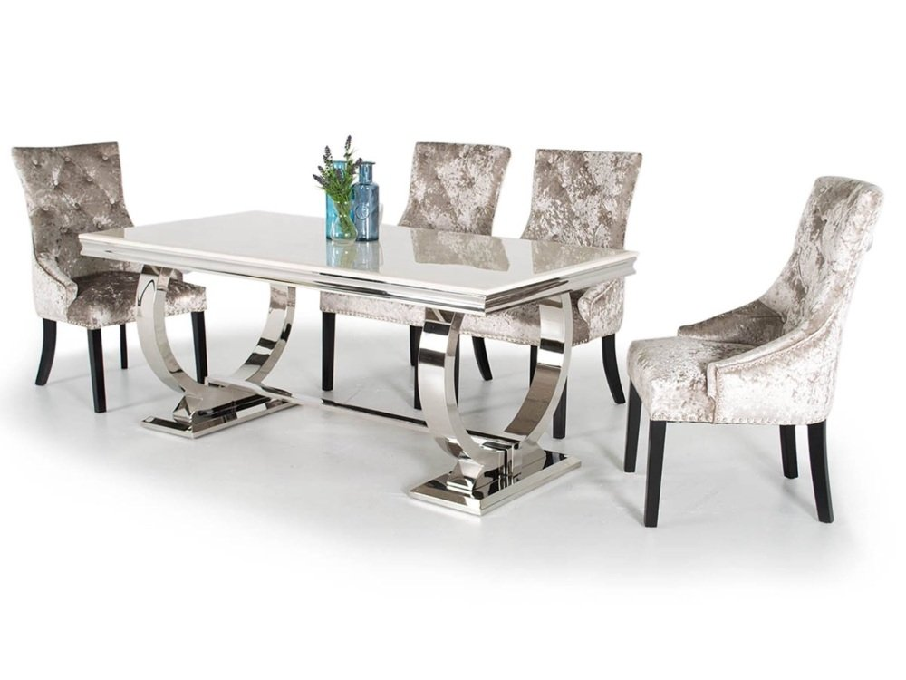 Arianna White Marble Medium Dining Table + 6 Knockerback Chairs