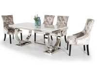 Arianna White Marble Medium Dining Table + 6 Knockerback Chairs