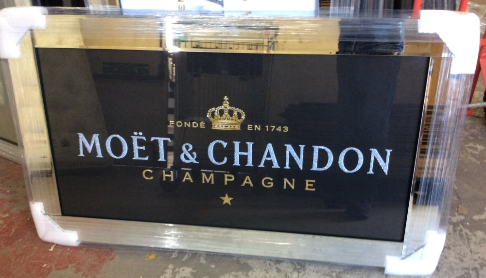 ** Moet Black and Gold Glitter Art in a Mirrored Frame ** 120cm x 60cm