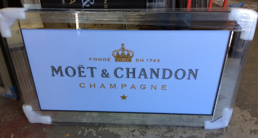 ** Moet White and Gold Glitter Art in a Mirrored Frame ** 114cm x 60cm