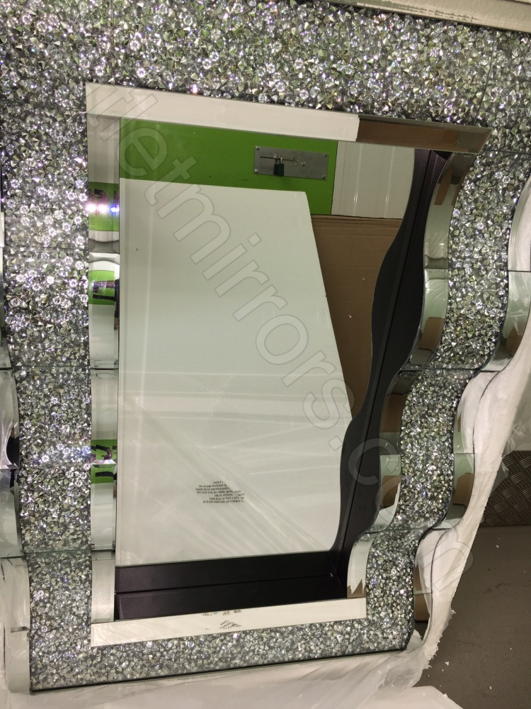 New crush sparkle crystal wave wall mirror 120cm x 80cm for Mirror 120 x 80