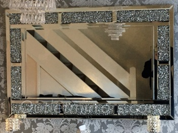 Diamond Crush Sparkle Bricks Crystal Wall Mirror 120cm x 80cm item in stock