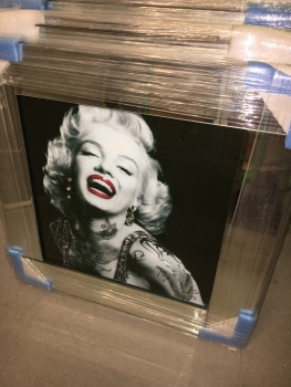 "Mirror Framed Art Print ""Monroe Tattoo Glamour "" Sparkle Wall Art"