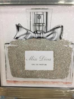 "Mirror framed Sparkle Glitter Art ""Miss Dior Perfume 2"""