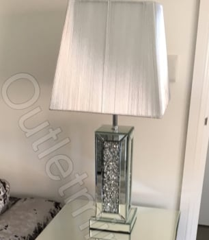 ^Diamond Crush Crystals Sparkle Mirrored Table Lamp