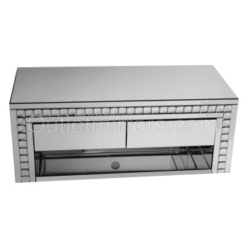 Crystal Border Silver Mirrored TV Entertainment Unit