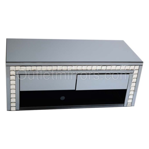 New Crystal Border smoked Mirrored TV Entertainment Unit