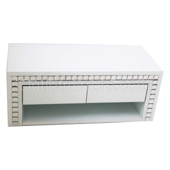 Crystal Border White Mirrored TV Entertainment Unit