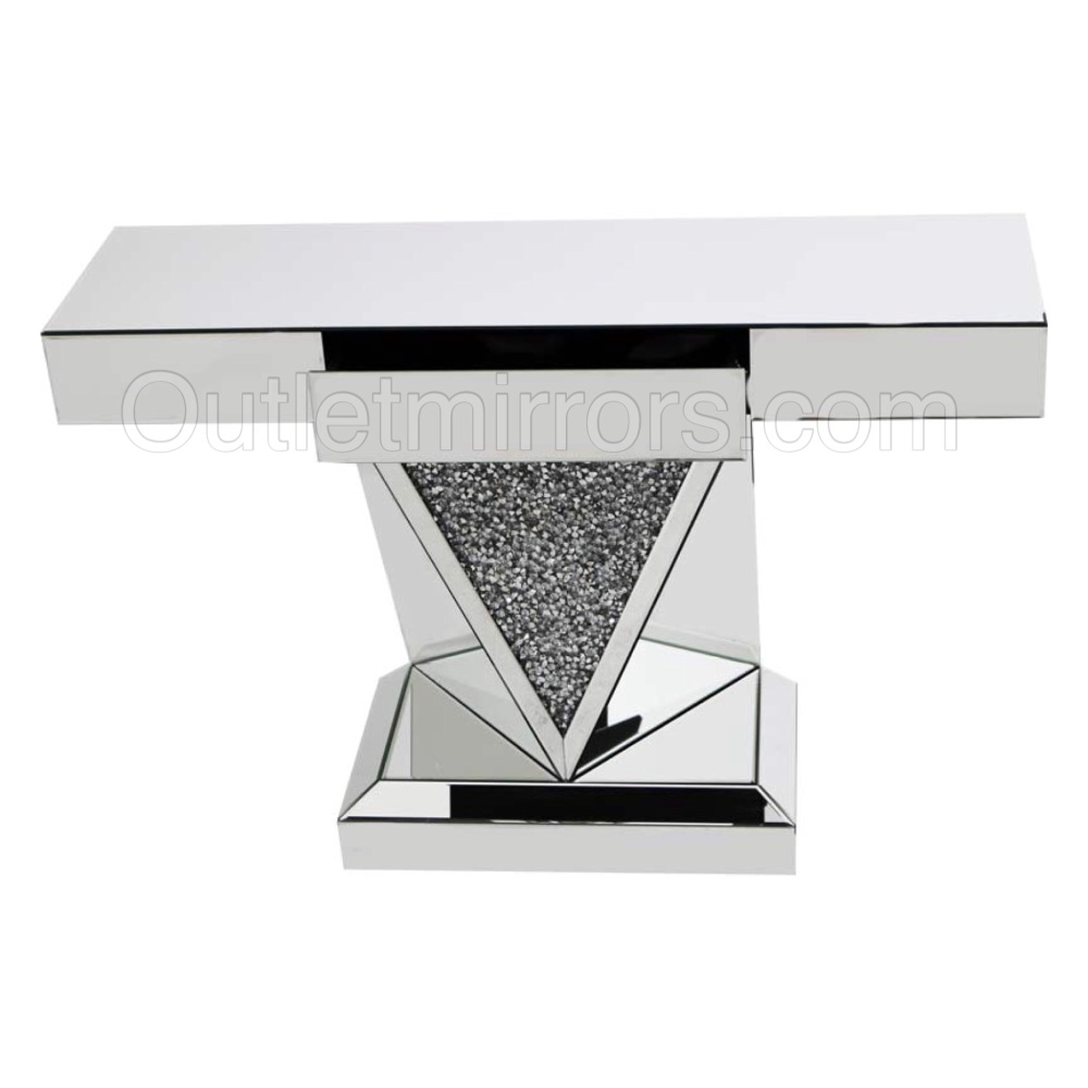 Diamond Crush Sparkle Crystal Vida Console Table with draw