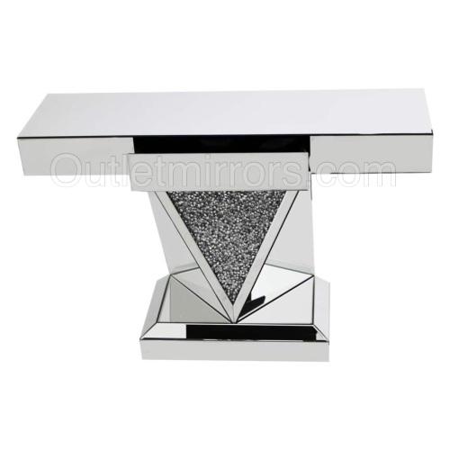 Diamond Crush Sparkle Crystal Vida Console Table with draw