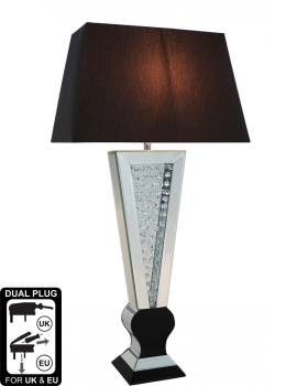 Floating Crystals Mirrored shaped Floor Lamp Black & Silver 156cm