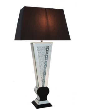 Floating Crystals Mirrored shaped Table Lamp Black & Silver 98cm