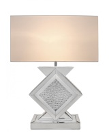 Floating Crystals Mirrored Lamp in Silver & White