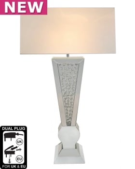 Floating Crystals Mirrored shaped Table Lamp White & Silver 98cm