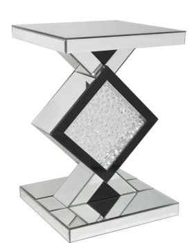 Floating Crystals in Black & Silver Shaped Mirrored Lamp Table  60cm x 40cm x 35cm